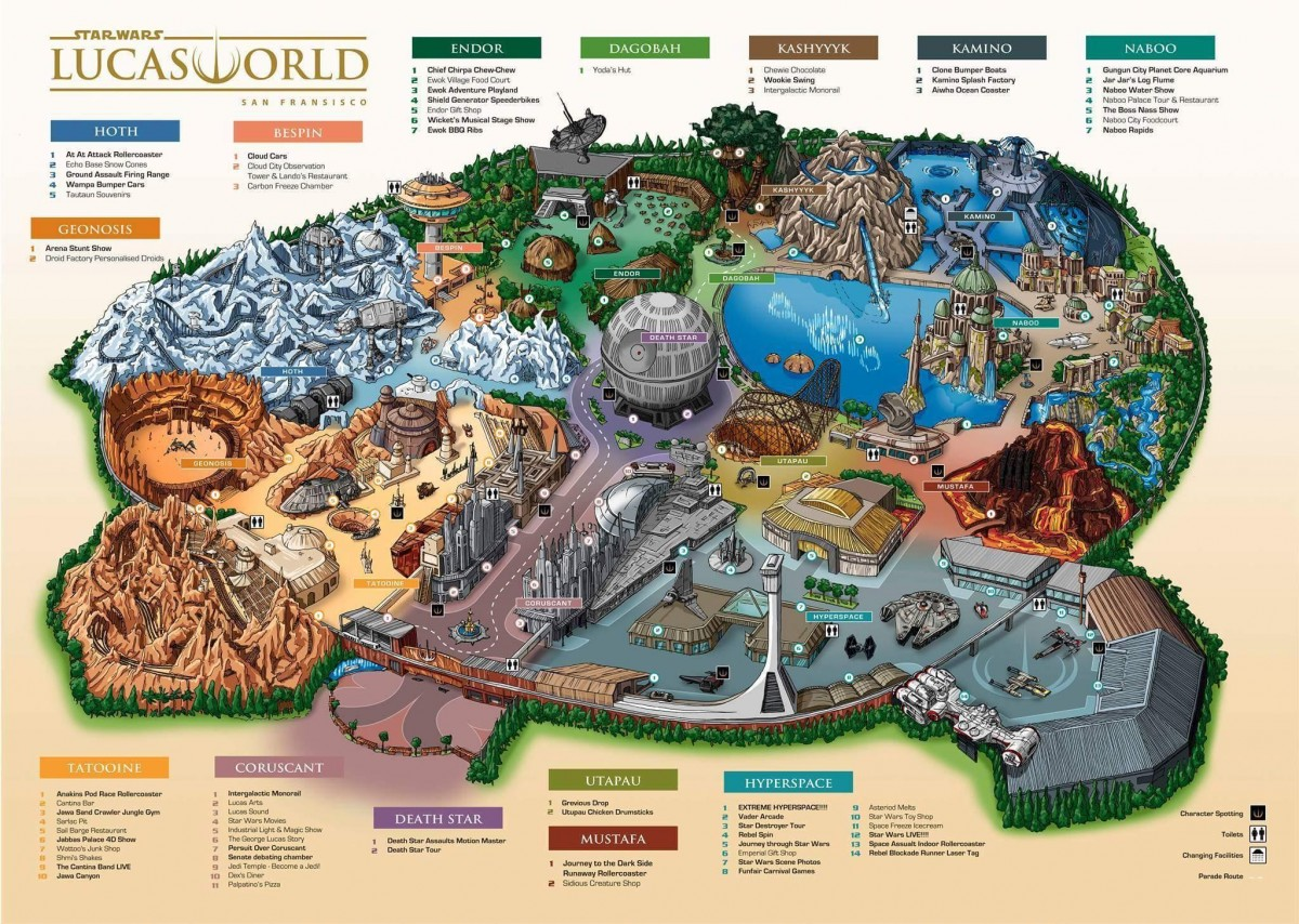 Star Wars Lucas World theme park map