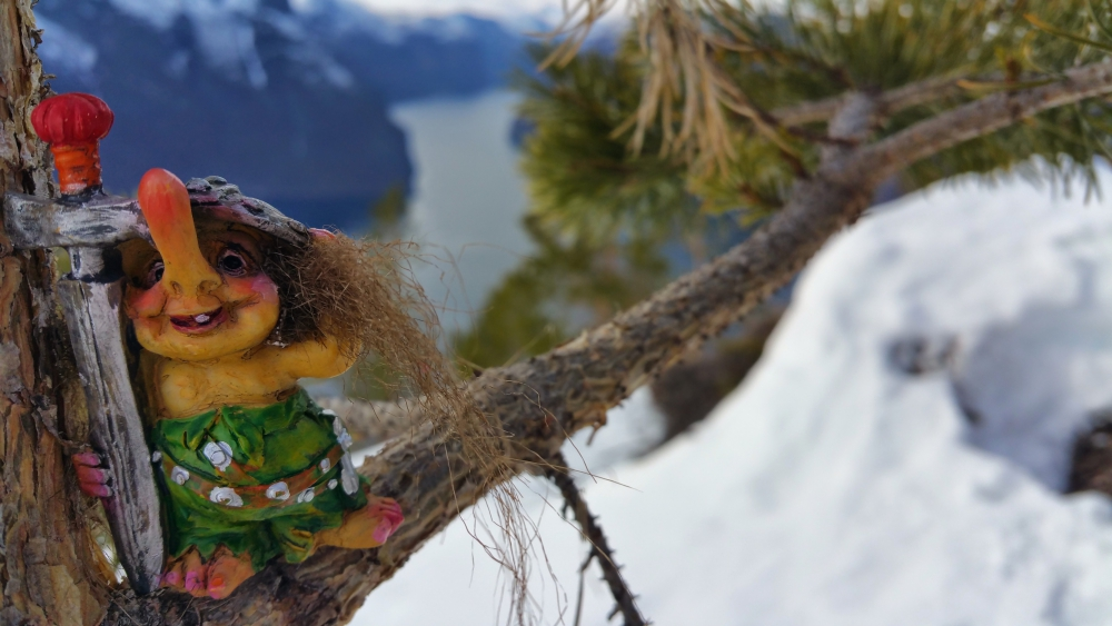 Norwegian Trolls over Fjord, Norway souvenir, travel memories