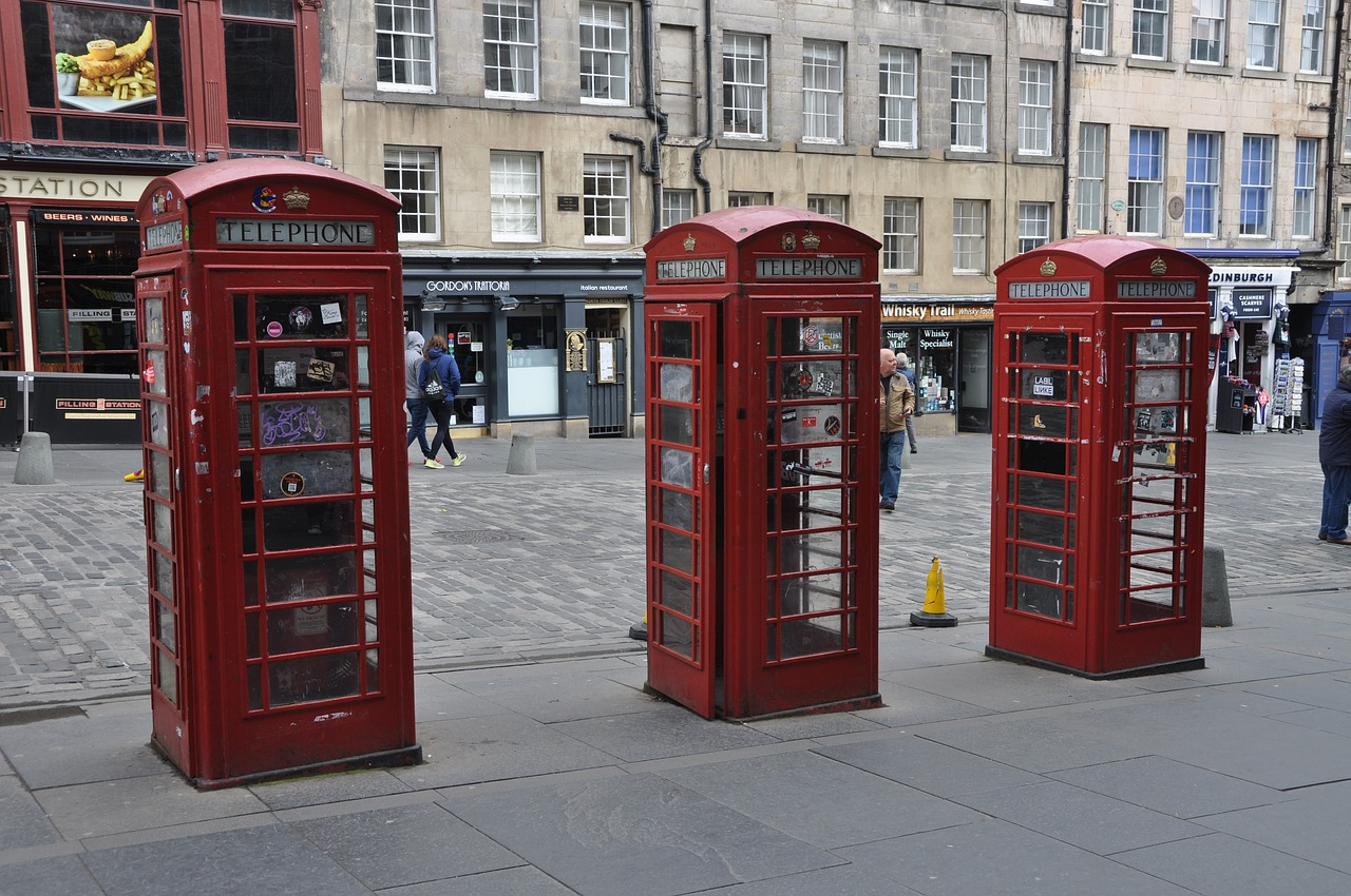 before moving to Edinburgh, red phone booths