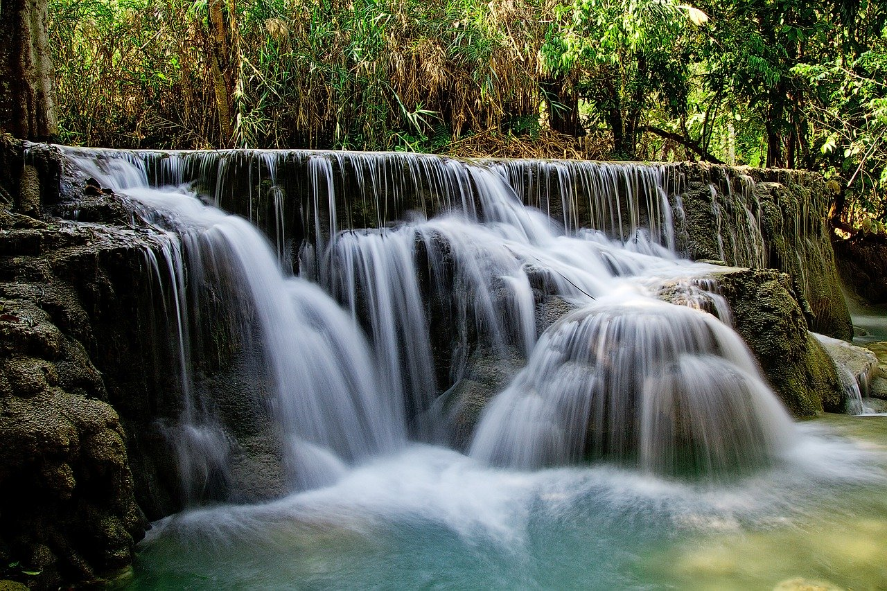 staying safe in Laos, waterfall